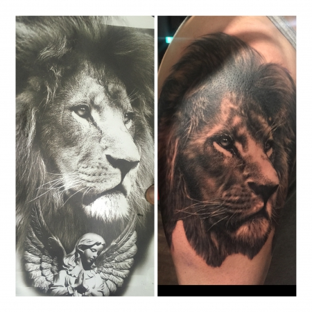 elvis-Tattoo: Löwe