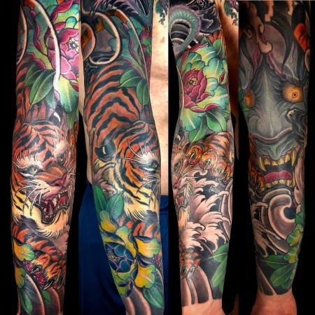 hannya-Tattoo: Tiger und Hannya