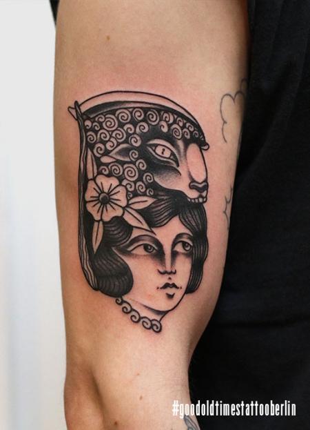 Blackwork girl tattoo