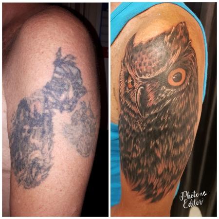 merlyn67 die eule ist der anfang vom ganzen arm tattoos. Black Bedroom Furniture Sets. Home Design Ideas