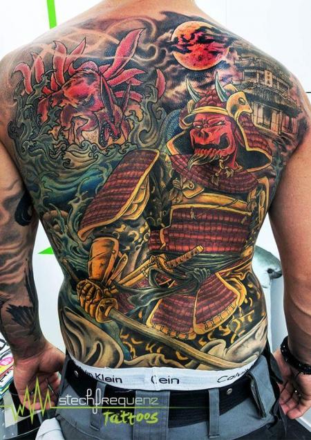 samurai-Tattoo: Kyuubi und Demon Samurai Manga Art