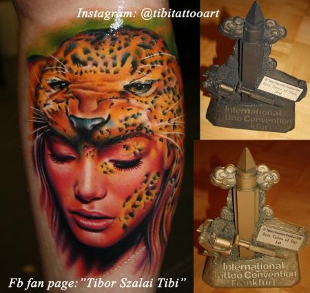 Frau/Leopard, tätowiert von Tibor Szalai