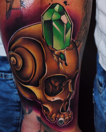 diamant-Tattoo: Skull mit Diamant