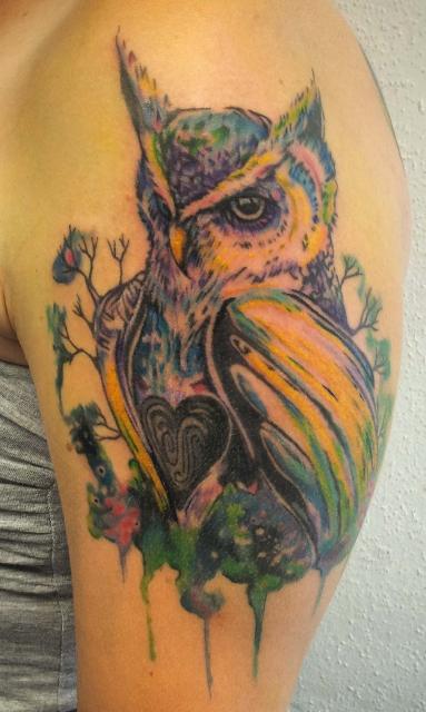 Aquarell Eule. Assassin Ink, Tattoo Dresden