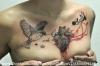 heart & bird tattoo with grunge elements
