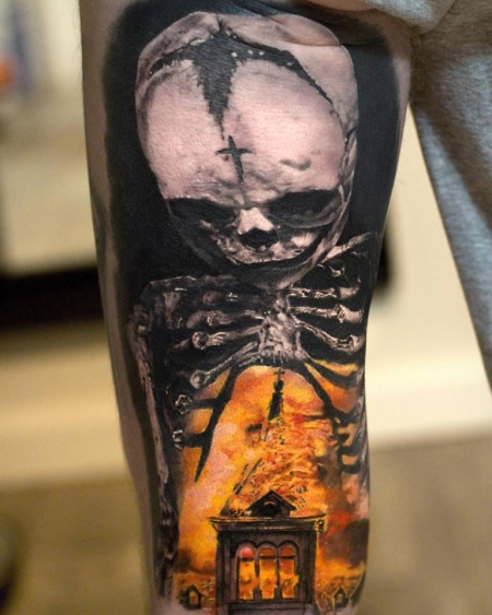 flammen-Tattoo: The Roof is on Fire
