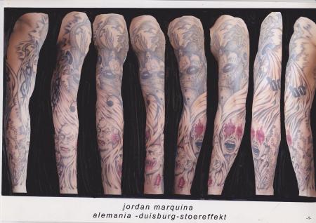 wassermann-Tattoo: Zombieköpfe die den drei Affen nachempfunden sind /Wassermann/Slipknot/Böhse Onkelz (Ganzer Arm)