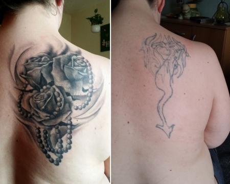 Rosen mit Perlenkette (after + before)
