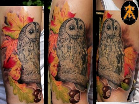 sterne-Tattoo: Eule - fertig