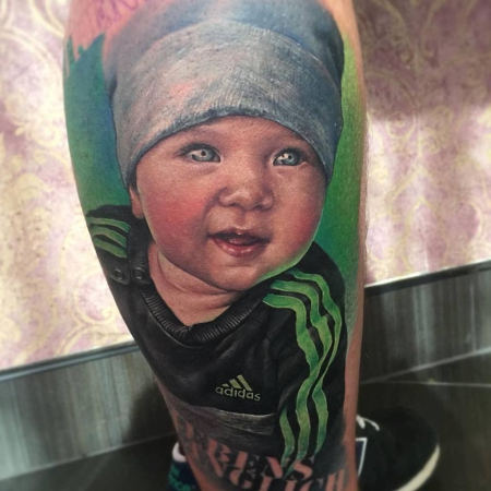 Realistic Baby Portrait Tattoo