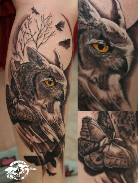 eule-Tattoo: fantasy eule