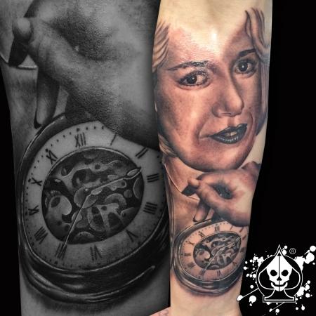 taschenuhr-Tattoo: Portrait & Taschenuhr