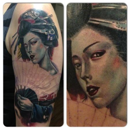 Geisha Sleeve in Progress, by Constantin Schuldt, Constantin Ink Dresden