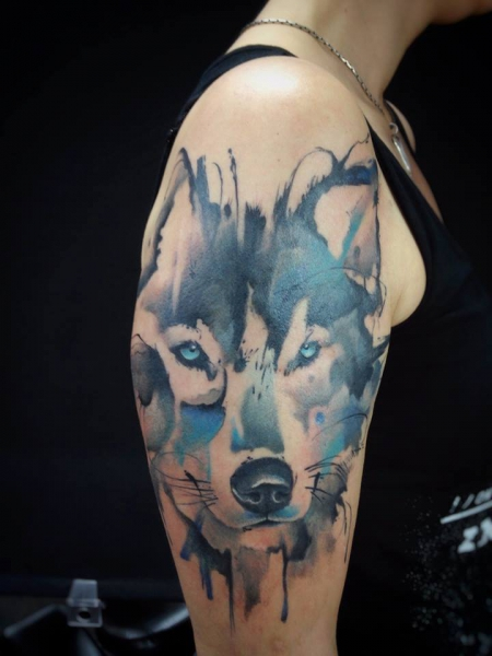 wolf-Tattoo: Aquarell Wolf