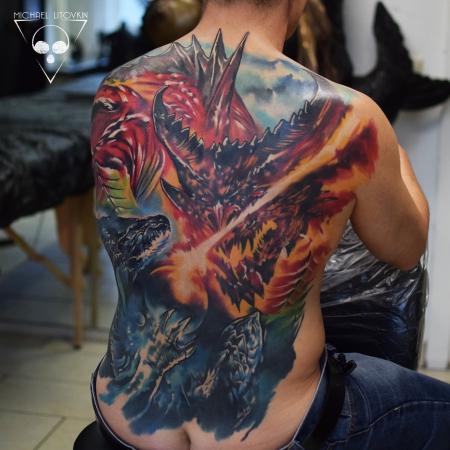 Drachen Backpiece verheilt in Farbe