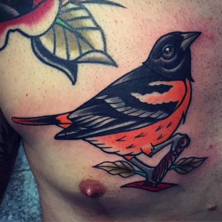 Vogel auf der Brust