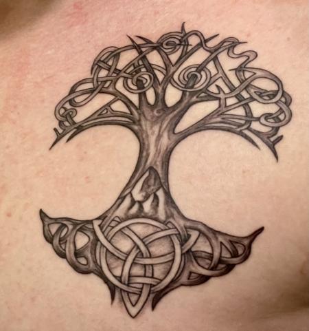 Lebensbaum mit Triskele und Triqueta