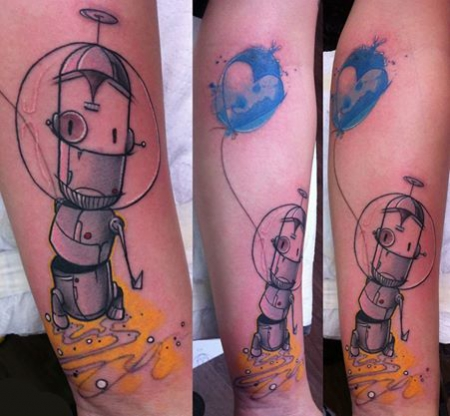 chrizzzn stilbruch tattoo   roboter mit ballon