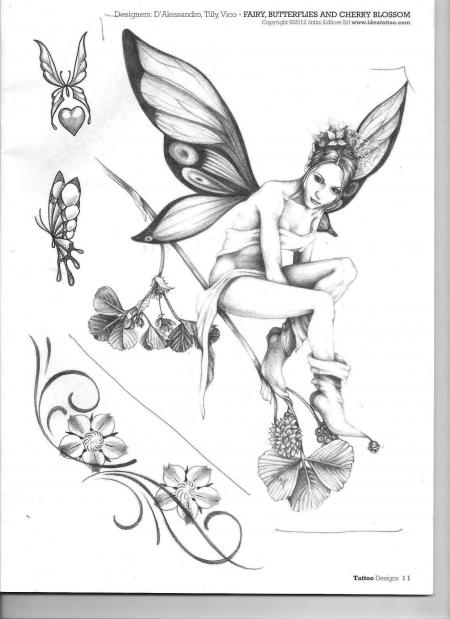 : Fantasy Elfe auf Kirschzweig | Tattoos von Tattoo-Bewertung.de