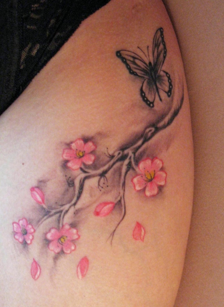 Cherrybutterfly cherry blossom butterfly tattoos von - Tatouage a faire a 2 ...